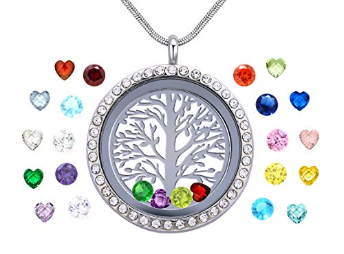 Memory Greeting Cards - Vinncy Tree of Life Locket Necklace for Girls Women, Family Love Always and Forever, Floating Living Memory Pendant with 24Pcs Crystal Birthstones, Pretty Box, Greeting Card