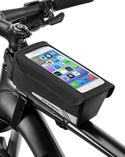 ROCK BROS Top Tube Bike Bag Phone Mount Bicycle Frame Handlebar Bags Magnetic Phone Holder Bag for Road Bike Storage Compatible with iPhone x xs max iPhone 7 8 Plus (6.0 inch)