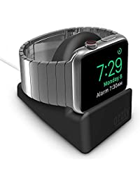 Orzly Compact Stand for Apple Watch - Nightstand Mode Compatible - Black Support Stand with Integrated Cable Management Slot