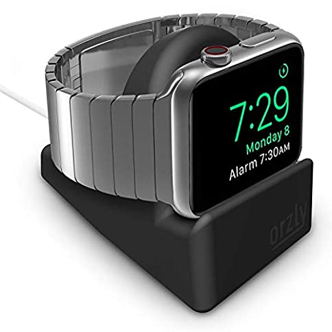 - 41H7kvzUqcL - Orzly Compact Stand for Apple Watch – Nightstand Mode Compatible – Black Support Stand with integrated Cable Management Slot (38mm & 42mm & 40mm & 44mm compatible)