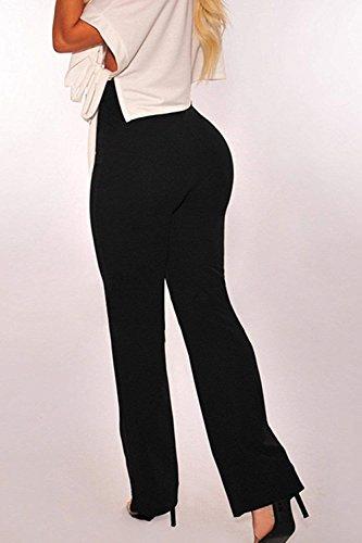 Libero Pantaloni Elegante Inclusa Donna Nero Monocromo Autunno Larghi Mode Pantaloni Pantaloni Tempo Waist High Primaverile Lunga Moda Casual di Colpo marca Pantalone Cintura waEEqU