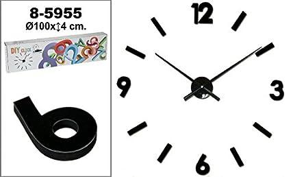 DonRegaloWeb - Reloj de pared para pegar de metal y melamina en color negro