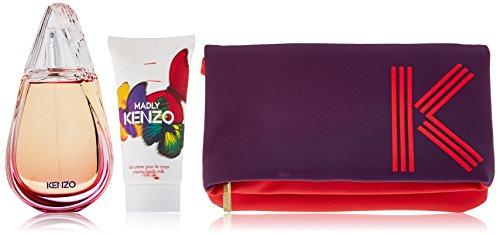 Kenzo Madly 3 Piece Gift Set for Women (Eau de Toilette Spray Plus Creamy Body Milk Plus Pouch)
