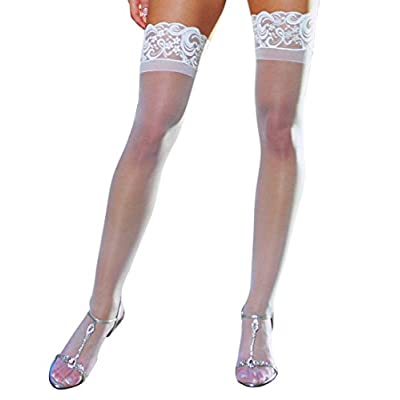 Dreamgirl Women's Sheer Lace Top Thigh Highs, Black, One Size: Clothing