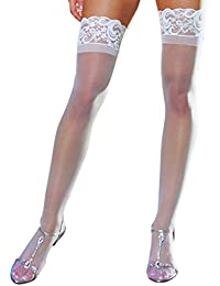 Women's Sheer Lace Top Thigh Highs, Black, One Size