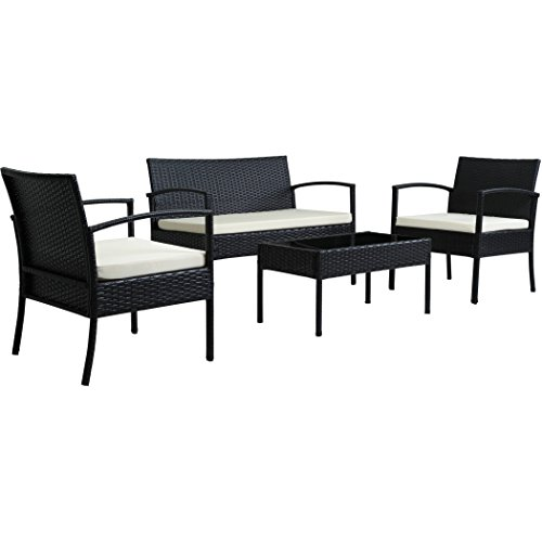 Incadozo 4-Piece All-Weather Wicker Patio Furniture Seating Set with Beige Cushion, - Galleria Riverside