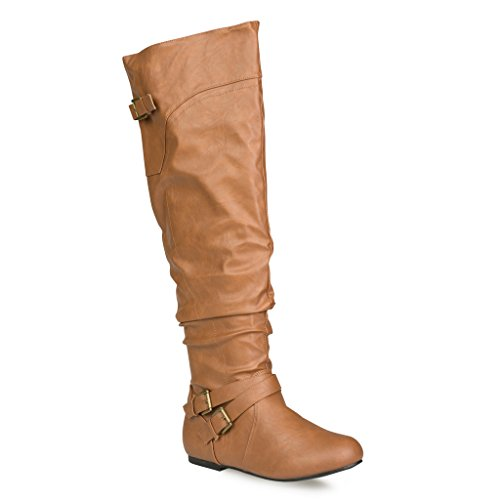 Style Calf High Boot (Twisted Women's Shelly Wide Calf Knee-High Boot- COGNAC , Size)