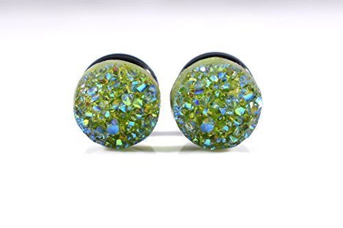 Olive Green Faux Druzy Sparkle Plugs - Available in 4g, 2g, 0g, and 00g