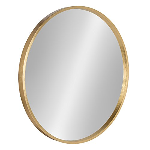 Kate and Laurel Travis Circular Wall Mirror with Wood Frame, 25.6-inch Diameter for Entryways, Washrooms, Living Rooms and More - Gold Finish (Large Mirrors Wall Circular)