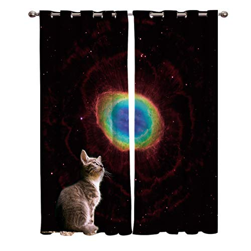 Vandarllin Cat Look up Glaxy Space Window Panels Treatments Sets of 2,Insulated Blackout Curtains/Draperies for Living,Dining,Bedroom,Kitchen, Multi,Each 52x63in