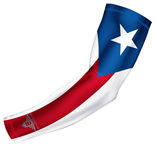 (Bucwild Sports Puerto Rico Flag Compression Arm Sleeve - Youth & Adult Sizes - Perfect for Baseball Basketball Football + Much More (1 Sleeve - Puerto Rico - Adult Large))