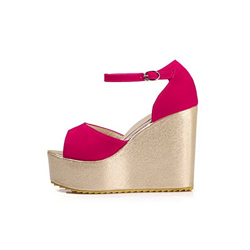 Toe Solid Frosted High Peach Sandals Open AmoonyFashion Buckle Womens Heels E71qwUnAw