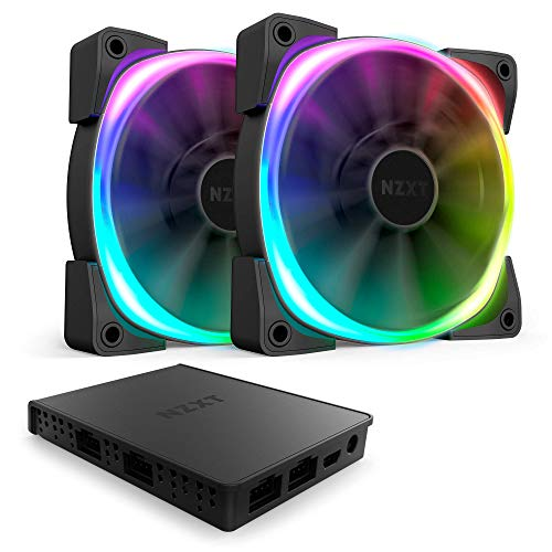 (NZXT AER RGB 2 - 140mm - Advanced Lighting Customizations - Winglet Tips - Fluid Dynamic Bearing - LED RGB PWM Fan for Hue 2 - Twin Pack + Hue 2 Lighting Controller)