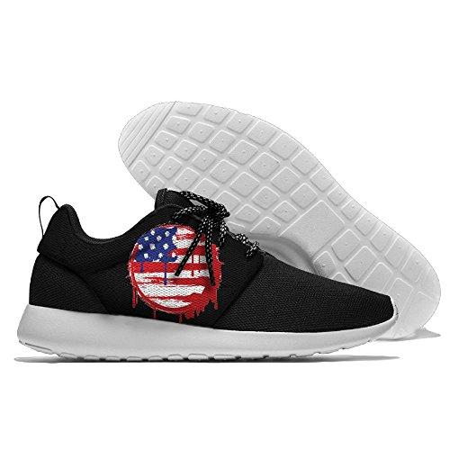 Usa: S Flagga Jord Fritid Sportskor Löparskor Atletiska Sneakers Svart