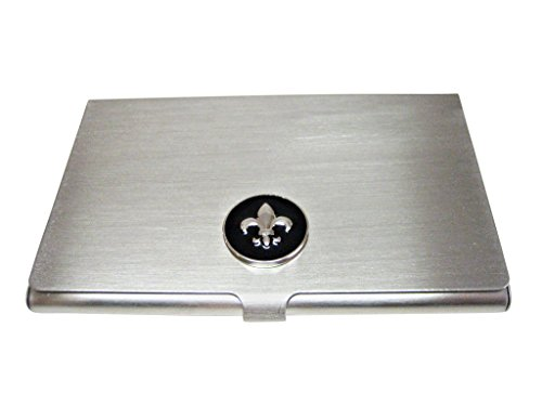 Black and Silver Toned Fleur de Lys Business Card Holder