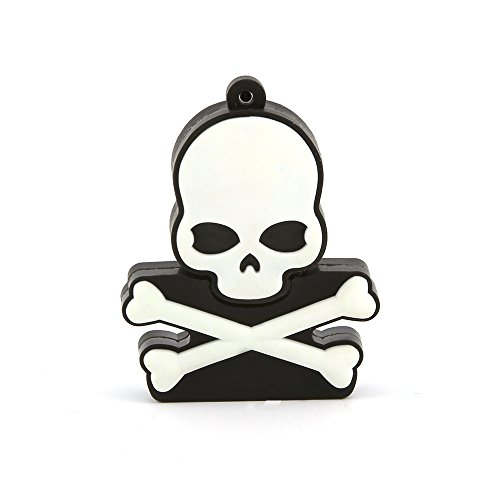 Usbkingdom 64GB USB 2.0 Flash Drive Novelty Cool White Skull Crossbones Skeleton Ghost Shape Pen Drive Memory Stick Thumb Drive Pendrive Flash Disk ()