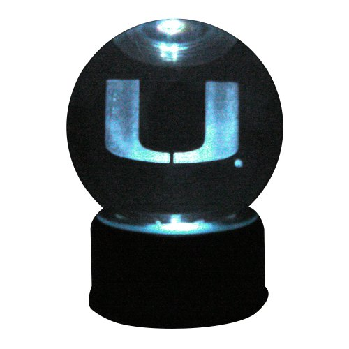 NCAA Miami Hurricanes U Logo Laser-Etched Musical Lit Crystal ball (Mascot Globe Musical)