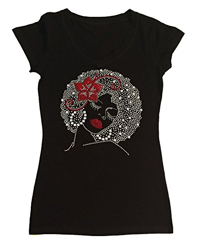 Womens Fashion T-shirt with Afro Girl with Flower in Hair (Small, Black Cap Sleeve)