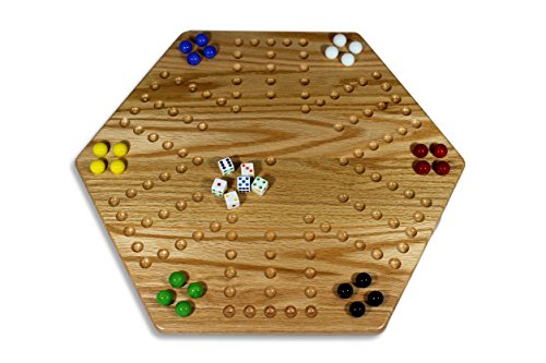(Solid Oak Double-sided Aggravation (Wahoo) Board Game Set, 20