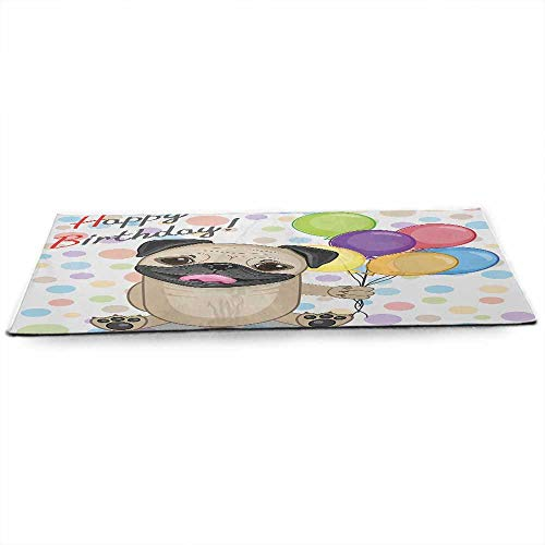 funkky Kids Birthday Eco Friendly Yoga Mat Animal Cute Dog Smiling Pug with Party Balloons Greeting Card Inspired Design Anti-Tear W24 x L70 Multicolor -