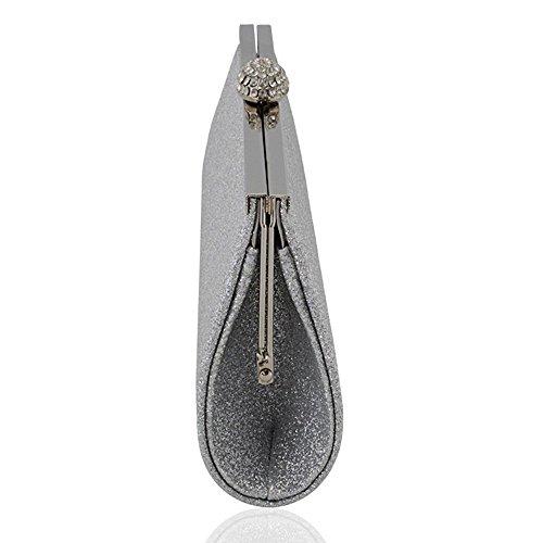 Silver Glam Essex Glitter Satin Womens Evening Bridal Bag Glitter Clutch wv8ZpRq8dn
