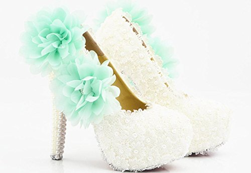 YCMDM scarpe da sposa scarpe tacco alto scarpe da sposa impermeabili White Lace fiore blu di cristallo scarpe da sposa scarpe da sera di diamanti artigianali , 14 cm with high reservation , 41