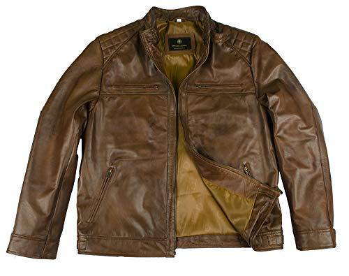 Men's Biker Classic Diamond Motorcycle Vintage Brown Distressed Leather Jacket (2XL) (Diamond Cafe Diamond Brown)