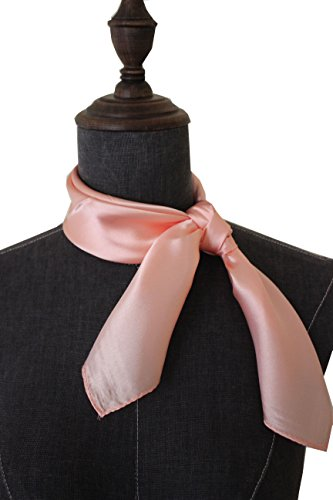 - Silk square scarf pure color head scarf blend neckerchief (Blush)
