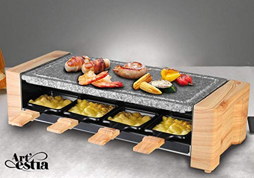 Artestia Electric Raclette Grill with High Density Granite Grill Stone,1450W High Power ETL Certified, Two-Tier Separate Heat Source for Plate Side Dishes,Serve the whole family Grill Stone Raclette