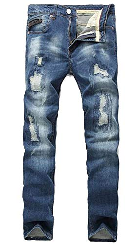 Old Patch Unita Holes Pantaloni Cotone Casual Uomo Cowboy Moda Ssig Classic Straight Abbigliamento Da Denim Cher In Tee Jeans Somiglianza blau Tinta 089 wgqfFxa