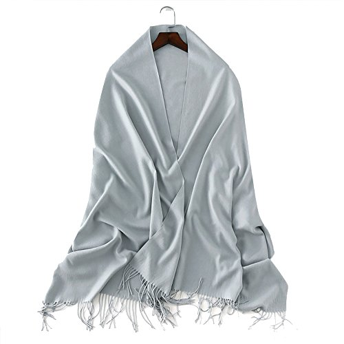QBSM Women's Large Soft Scarf Solid Color Pashmina Cashmere Shawl Wrap Scarves (Grey)