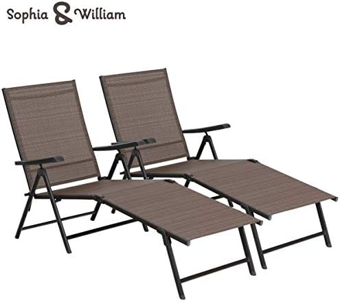 Sophia William Outdoor Chaise Lounge Chair Set of 2 Folding Recliner 5 Position Adjustable for Patio Beach Pool Yard Textilene Brown