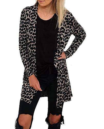 Donne Giacche Leopardato Primavera Casual Cardigan E Lunga Autunno Cime Cappotto Moda Stampa Giacca Coat Tops Outwear Manica Jungen 7ExrgEz