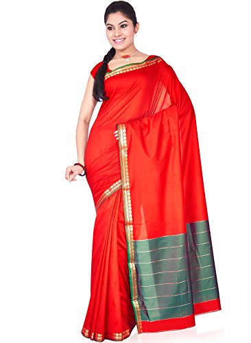 IndusDiva Women's Red and Green Art Silk Saree
