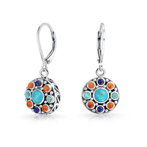 Southwestern Style Multi Stone Sterling Lapis Stabilized Turquoise Orange Coral Dangle Leverback Earrings For Women