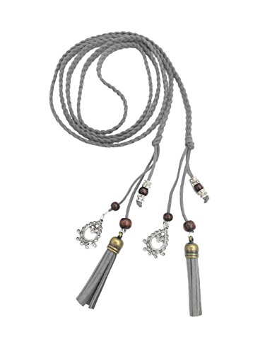 (Exotic Women Waist Belt/Rope/Chain with Tassel and Beads in 8 Colors (grey))