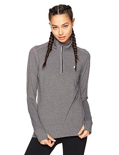 Starter Women's Long Sleeve Half-Zip Top, Amazon Exclusive, Carbon Grey Jaspe, Small