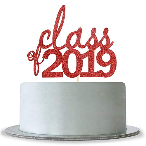 Red Glitter Class of 2019 Cake Topper Graduation 2018 2019 Senior Graduation Party Supplies
