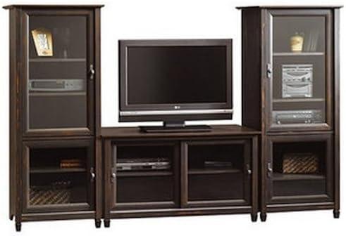Marrón centro de entretenimiento TV de pantalla plana soporte a juego Media Torres de almacenamiento armarios Vintage acabado antiguo estantes para TV componentes puertas de cristal completa la media center: Amazon.es: Hogar