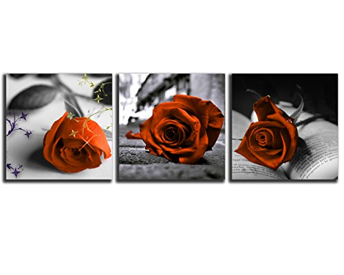 NAN Wind Canvas Print 3 Pcs Black and White Orange Rose Canvas Art Abstract Wall Art Decorations Flower Picture on Canvas for Home Decor Valentines Gift Stretched and Framed 12X12inches