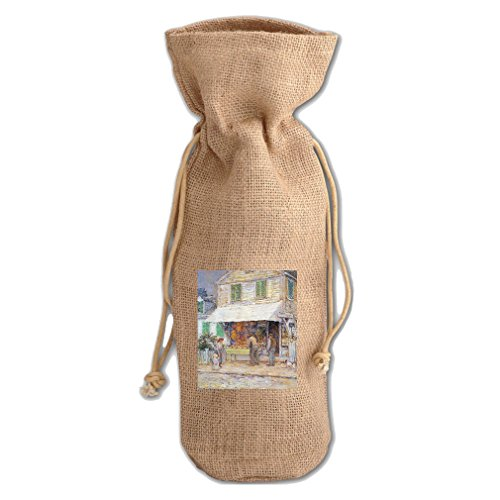 Provincial Town (Hassam) Jute Burlap Burlap Wine Drawstring Bag Wine - Provincial Spring