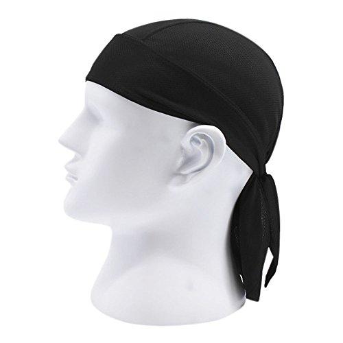 Chen Motorcycle Biker Windproof Cycling Skull Cap Hat Sweatband Protex Outdoor Head Wraps (Black) (Wrap Cap Skull)