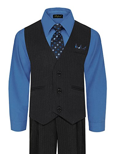 Navy Blue Gray Pinstripe (iGirlDress Little Boys' and Special Occasion Pinstripe Vest Set Navy/Victoria blue 7)