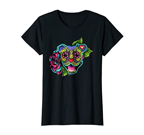 Womens Smiling Pit Bull in Blue - Day of the Dead Sugar Skull Dog Medium Black