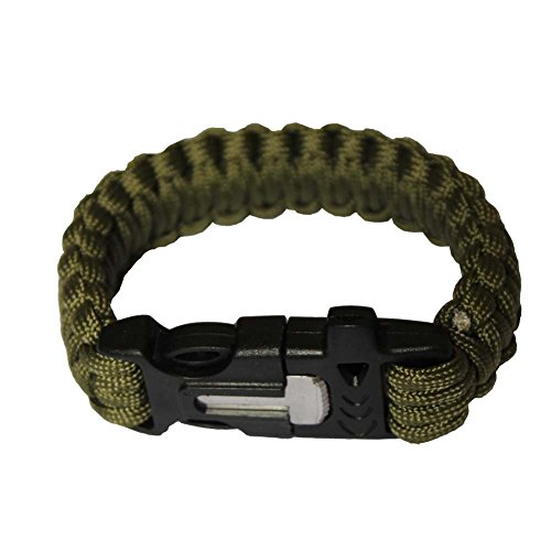 OmeGod Outdoor Survival Paracord Rope Bracelet with Magnesia Fire Starter Stainless Scraper and Whistle, 7-Strand Parachute Cord (Army Green)