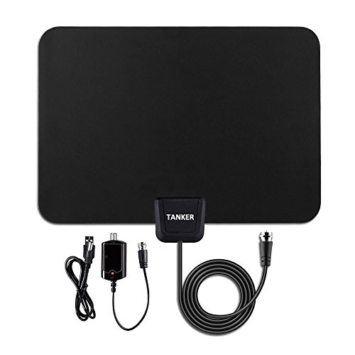 TV ANTENNA,  50 Mile Range Amplified TV Antenna with Detachable Amplifier Signal Booster for High Performance and 10ft Coaxial Cable(Black)