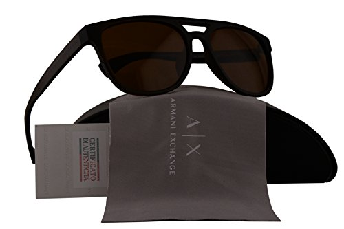 Armani Exchange AX4032S Sunglasses Brown Transparent w/Amber Lens 814473 AX 4032F - Exchange Rectangular Armani Aviator Sunglasses