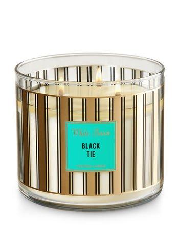 Bath & Body Worksホワイトバーン3-wick Candle inブラックタイ B077TG76ZN