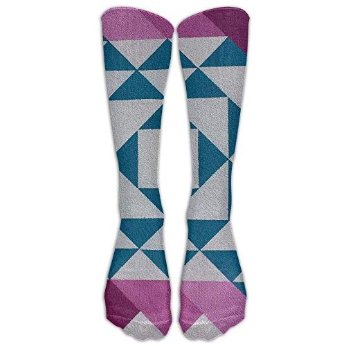 Fashion Cute Fun Socks for Women Purple Pattern Line Color Pink Circle