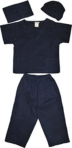 Kids Doctor Dress up Surgeon Costume Set, 8/10, Navy (Kids Navy Costumes)
